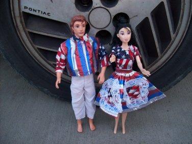 Handmade Barbie & Ken 4th Of July Set W/Flags 1950's Style