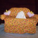 Handmade Orange flowered Couch Tissue Box Cover