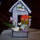 Handmade Dark Blue Birdhouse Tissue Box Cover