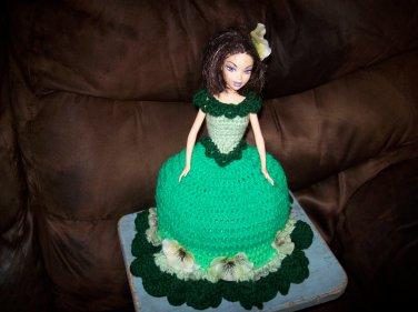 Barbie Toilet Tissue Cover Doll In Medium Green
