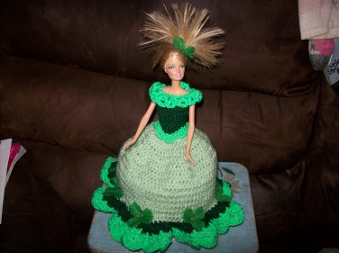 Barbie Toilet Tissue Cover Doll In Light Green & Clovers