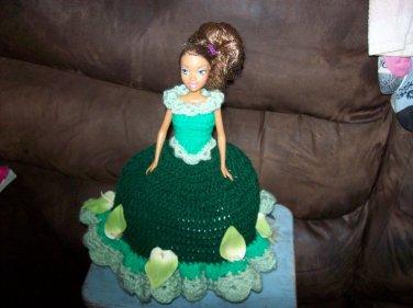 Barbie Toilet Tissue Cover Doll In Dark Green