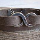 Men's Bracelet - Men's Infinity Bracelet - Men's Gray Bracelet - Men's Leather Bracelet
