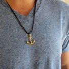 Men's Necklace - Men's Anchor Necklace - Men's Gold Necklace - Mens Jewelry