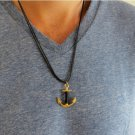 Men's Necklace - Men's Anchor Necklace - Men's Black Necklace - Mens Jewelry