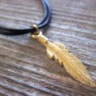 Men's Necklace - Men's Feather Necklace - Men's Gold Necklace - Mens Jewelry