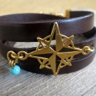 Men's Bracelet - Men's Compass Bracelet - Men's Leather Bracelet - Men's Jewelry - Men's Gift