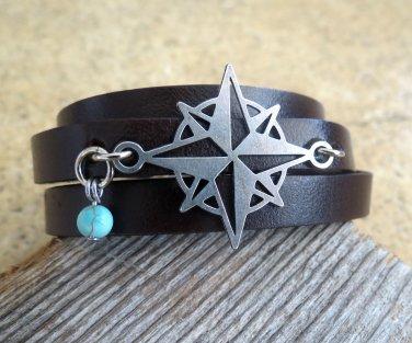 Men's Bracelet - Men's Compass Bracelet - Men's Leather Bracelet - Men's Jewelry - Men's Gift