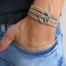 Men's Bracelet - Men's Peace Bracelet - Men's Brown Bracelet - Men's Jewelry -