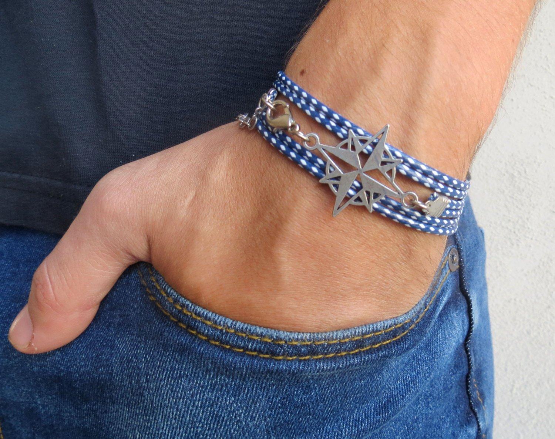 Men's Bracelet - Men's Compass Bracelet - Men's Blue Bracelet - Mens Jewelry - Bracelets For Men