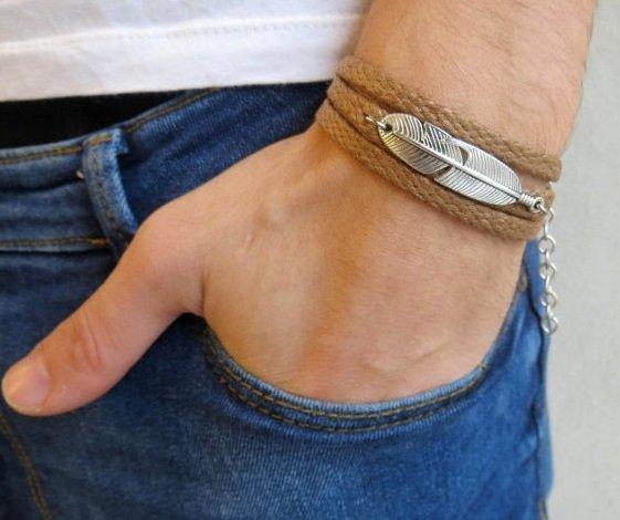 Men's Bracelet - Men's Feather Bracelet - Men's Brown Bracelet - Men's Jewelry - Bracelets For Men
