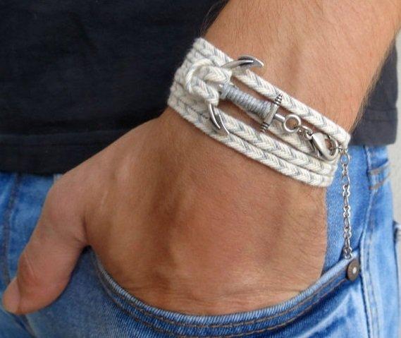 Men's Bracelet - Men's Anchor Bracelet - Men's Gray And White Bracelet - Mens Jewelry