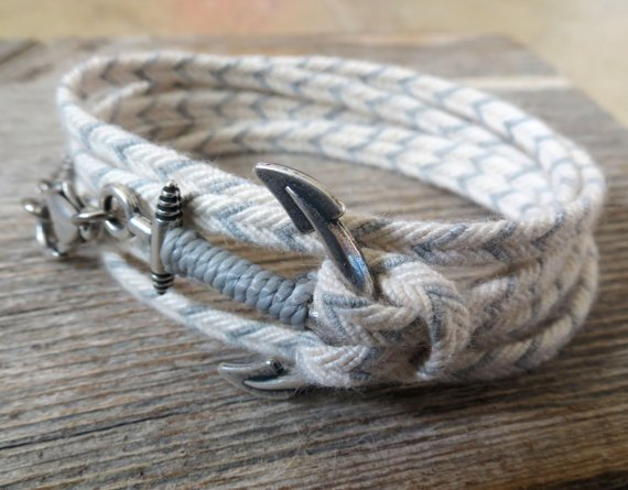 Men's Bracelet - Men's Anchor Bracelet - Men's Gray And White Bracelet - Mens Jewelry