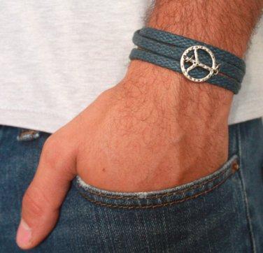 Men's Bracelet - Men's Peace Bracelet - Men's Blue Bracelet - Men's Jewelry - Bracelets For Men