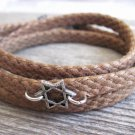 Men's Bracelet - Men's Star Of David Pendant - Men's Brown Bracelet - Men's Judiaca Bracelet