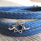 Men's Bracelet - Men's Star Of David Pendant - Men's Blue Bracelet - Men's Judiaca Bracelet