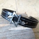 Men's Bracelet - Men's Star Of David Bracelet - Men's Black Bracelet - Men's Leather Bracelet