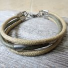 Men's Bracelet - Men's Tube Bracelet - Men's Brown And Olive Bracelet - Men's Jewelry