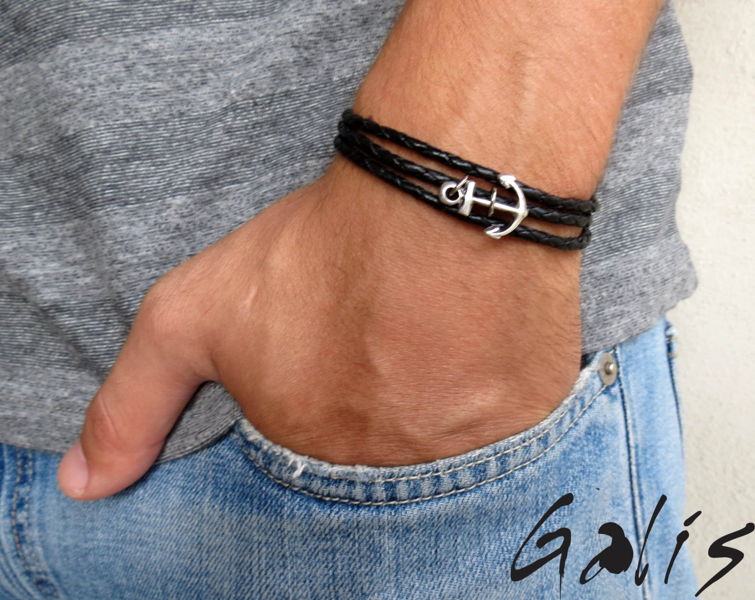 Men's Bracelet - Men's Anchor Bracelet - Men's Leather Bracelet - Men's Jewelry - Men's Gift