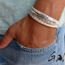 Men's Bracelet - Men's Feather Bracelet - Men's Gray Bracelet - Men's Jewelry - Bracelets For Men