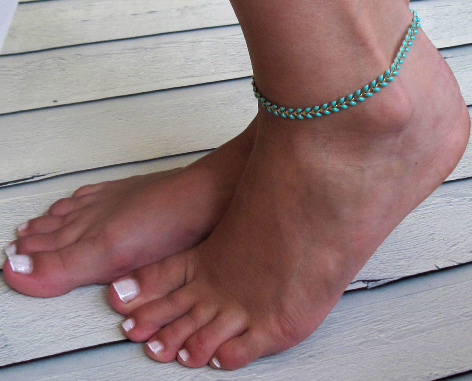 Turquoise Anklet - Ankle Bracelet - Arrow Anklet - Foot Jewelry - Foot Bracelet - Chain Anklet