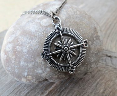 Men's Necklace - Men's Compass  Necklace - Men's Silver Necklace - Mens Jewelry