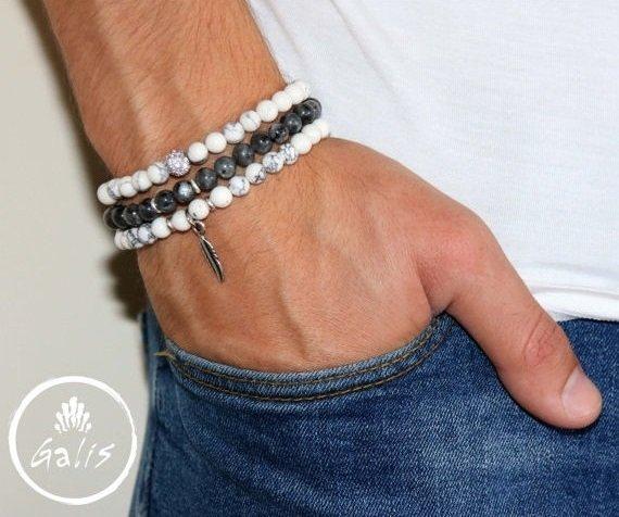 Men's Bracelet Set - Set of 3 Bracelets For Men - Men's Beaded Bracelet - Men's Jewelry - Men's Gift