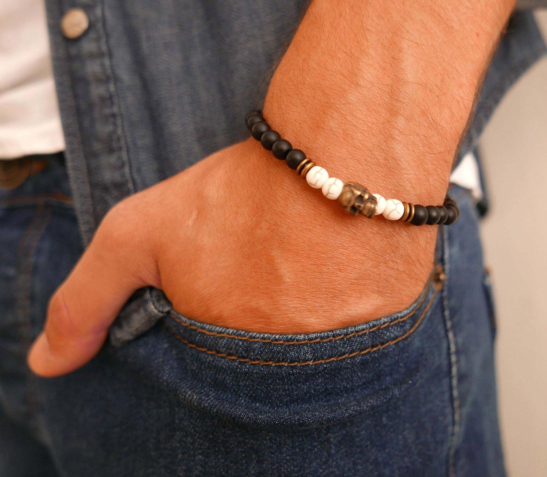 Men's Gemstone Bracelet - Men's Beaded Bracelet - Men's Strech Bracelet - Men's Jewelry - Men's Gift