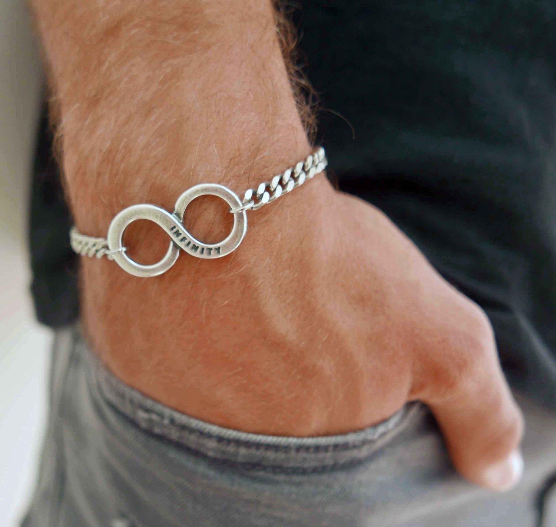 Men's Infinity Bracelets - Men's Chain Bracelet - Men's Silver Bracelets - Men's Jewelry