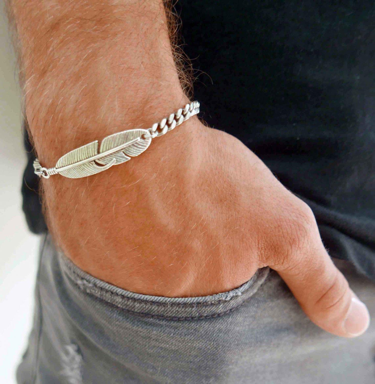 Men's Feather Bracelets - Men's Chain Bracelet - Men's Silver Bracelets - Men's Jewelry