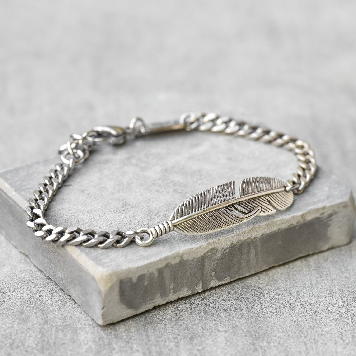 Men's Feather Bracelets - Men's Chain Bracelet - Men's Silver Bracelets - Men's Jewelry
