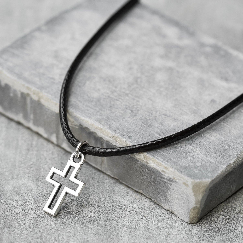 Men's Cross Pendant - Men's Cross Necklace - Men's Christian Necklace - Men's Religious Necklace