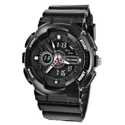 Unisex AK1383 Round Dial AL35 TPU Rubber Strap Waterproof Diving Watch Red New