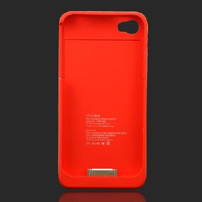 1900mAh External Backup Rechargeable Battery Charger Case Cover For iPhone 4 4S Red