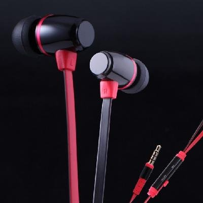 KingTime Black and Red 3.5mm plug in-ear stereo flat metal earphones for iphone, ipod, ipad,samsung