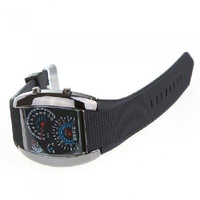 Cool Car Meter Dial Unisex Blue Flash Dot Matrix LED Racing Watch Black
