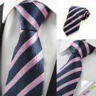 New Striped Pink Blue JACQUARD Men's Tie Necktie Wedding Party Holiday Gift