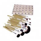24pcs Professional Cosmetic Makeup Brush Set with Green plaid brushes pack GOAT HAIR