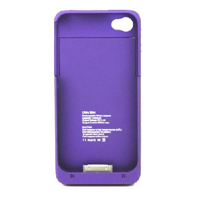 1900mAh External Backup Rechargeable Battery Charger Case Cover For iPhone 4 4S Purple