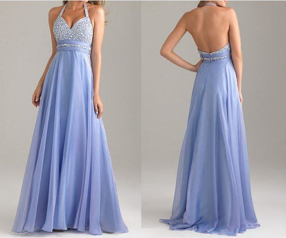 NEW fashion blue prom dress, long prom dress, cheap prom dresses, chiffon prom dress