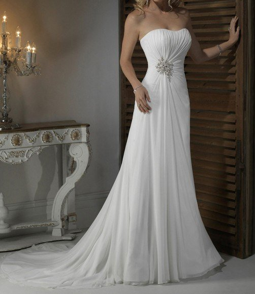 New Sexy White / Ivory Wrinkle Chiffon Bride Gown Wedding Dress Free custom Size Color