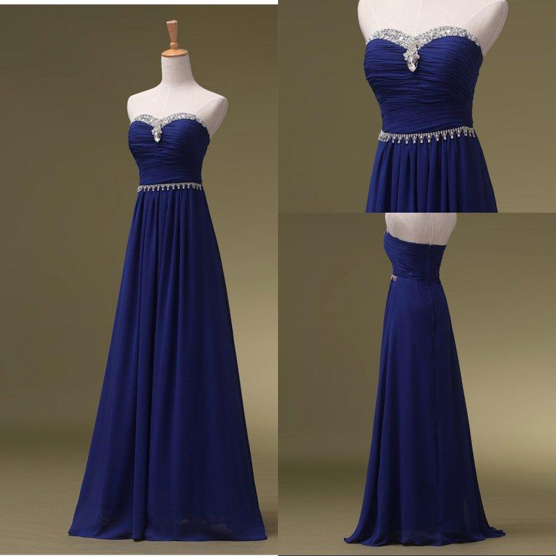 Royal Blue Prom Dresses, Long Bridesmaid Dresses, Long Evening Dresses, Strapless Evening Gowns
