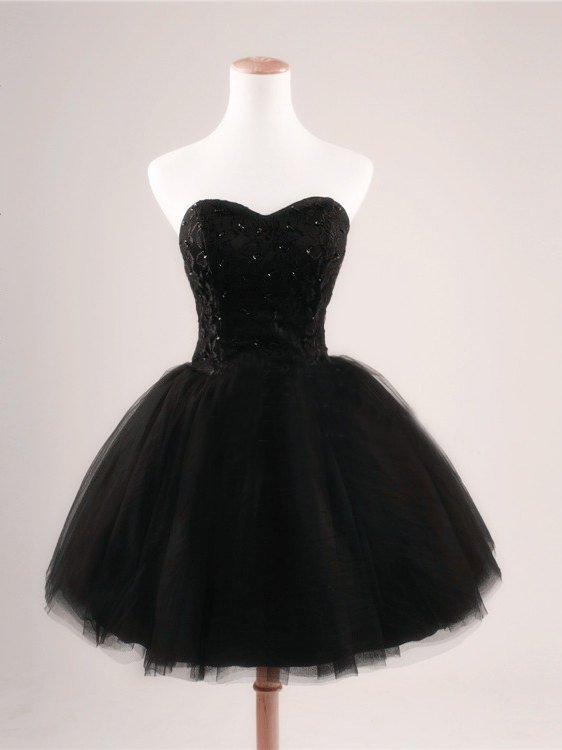 Black Prom Dress Strapless Ball Gown Tulle Party Dress Short Celebrity Dresses Evening Dresses