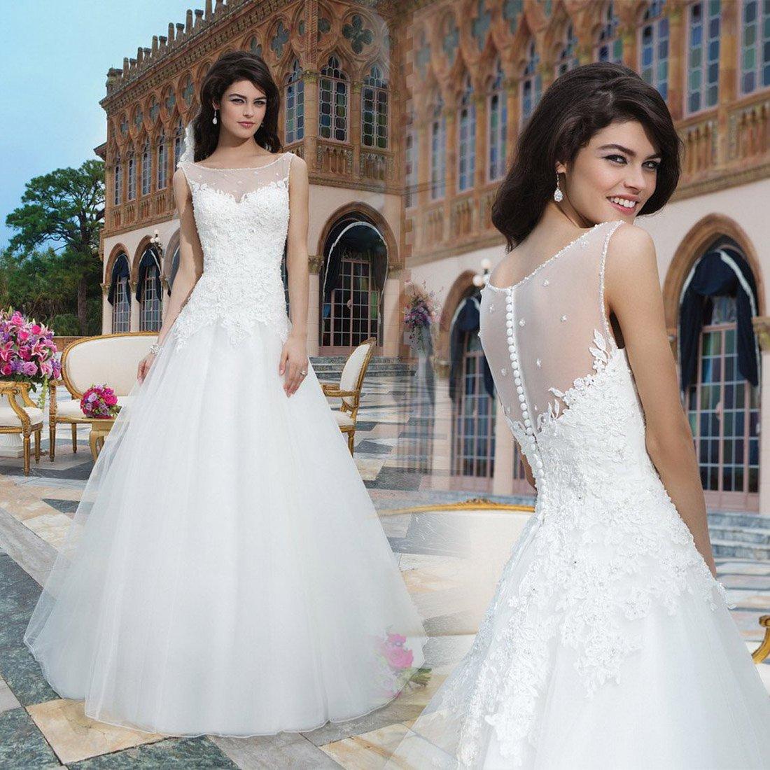 White Ball Gown Wedding Dress Plus Size Bridal Gown lace wedding dress