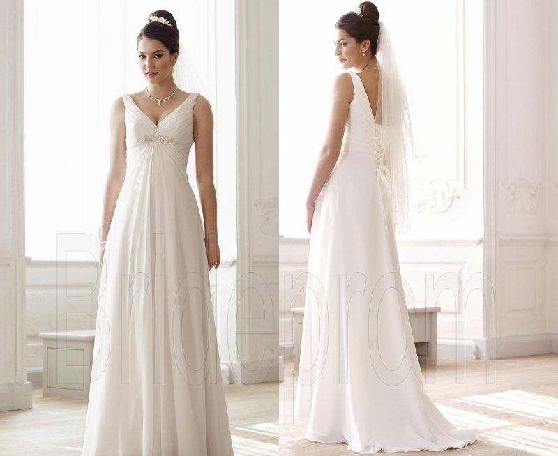 White/Ivory V-Neck Wedding Dresses Straps Bridal Gown Wedding Gowns Chiffon Bridal Dresses
