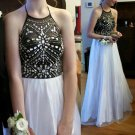 Long Prom Dress, Halter Prom Dress, White And Black Prom Dress, Cheap Prom Dress, Party Prom Dress
