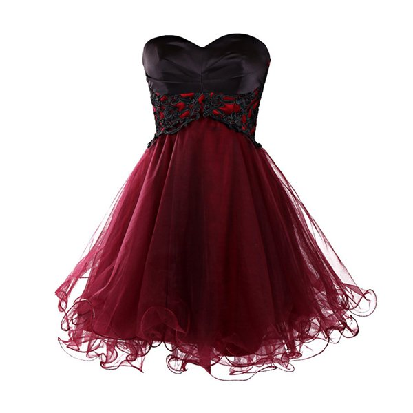 Short Burgundy Homecoming Dress  Party Prom Dress, Lace Up Back Prom Dress