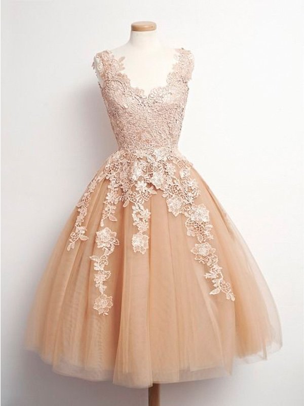 Short Homecoming Dress, Party Prom Dress, Lace Short Prom Dress, Champagne Prom Dress