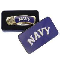 Navy Knife in Metal Tin Knive Collectible blue Awesome high quality