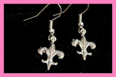 Silver Fleur De Lis Earrings Bridal Free Black Bag Italy c-12